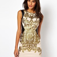 Lipsy | Lipsy Baroque Bodycon Dress at ASOS