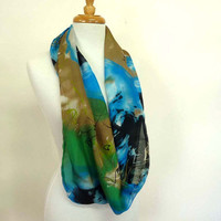 Silk Scarves Infinity Scarf Moebius Scarf Abstract Print