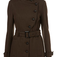 Military Style Piped Coat - New In - Topshop