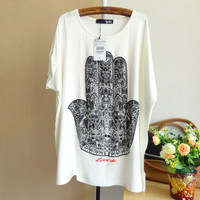 Hand Of Buddha Print Loose T-shirt
