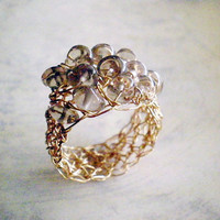 Gold Filled Crochet Ring With Smoky Quartz 