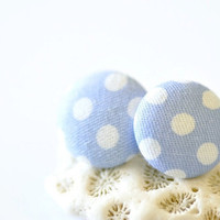 Fabric Button Ear Posts Blue & White Polka Dots by DobleEle