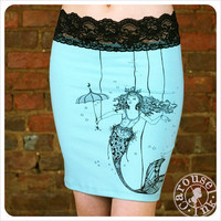 Mermaid Pencil Skirt  Turquoise skirt  Screenprint by Carouselink
