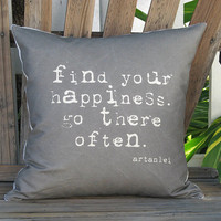 Find Your Happiness Pillow Cover by artanlei on Etsy