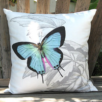 Fresh Spring Hydrangea and Aqua Butterfly Pillow Cover by artanlei