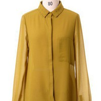 Rivet Collar Loose Fit Shirt in Mustard by Chic+ - Retro, Indie and Unique Fashion