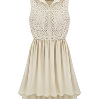 Apricot Sleeveless Hollow Embroidery Pleated Dress - Sheinside.com