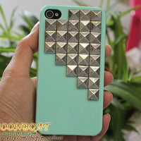 Cell Phone Hard Case Cover  With Silvery Stud Pyramid For iPhone 4 4g 4s