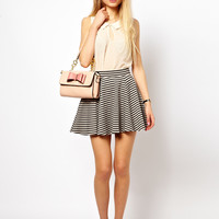 ASOS | ASOS Jacquard Skater Skirt in Stripe at ASOS