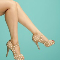 Polka Dot Mary Jane Pumps in Taupe | Pinup Girl Clothing