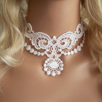Lace choker necklace white | StitchesFromTheHeart - Wedding on ArtFire