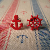 Nautical Earrings Anchor Stud by Bitsofbling on Etsy