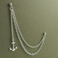 Anchor Double Piercing Cartilage Earring With Chain In Sterling Silver 925 Jewellery Single Earring