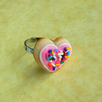 polymer clay pink sugar cookie ring by ScrumptiousDoodle on Etsy