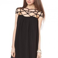 Etoile Chiffon Dress in Black - ShopSosie.com