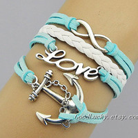 Cursive Love,Infinity Wish,Anchor Bracelet,Light Blue Leather White Braided Leather Vintage Style charm Bracelet Cute Personalized Jewelry