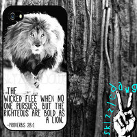 Lion Quote Bible Verse Apple iPhone 4/4S and 5 Cell Phone Case Cover Original Trendy Stylish Design