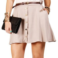 Pre-Order: Taupe Belted Button Skater Skirt
