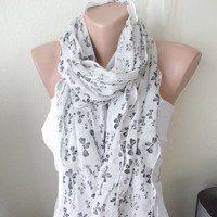 Bow Print Chiffon ScarfWhite and BlackRuffle by Periay on Etsy