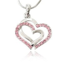 Pink Crystal Double Heart Charm Pendant Necklace