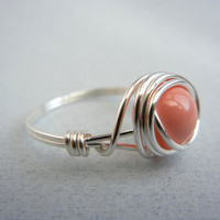 Swarovski Pearl Ring - Pink Coral Ring by threestonebirds