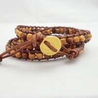 Eco Friendly Natural Wood Multi wrapping bracelet. UNISEX