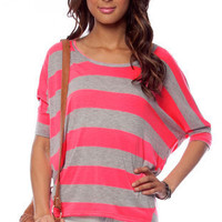 Break Loose Striped Top in Neon Pink :: tobi