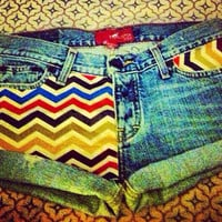 Corduroy chevron denim shorts  by AngeliqueMerici on Etsy