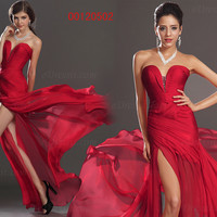 Sexy Red Chiffon Sweetheart Neckline Evening Party Dress Prom Gown Homecoming