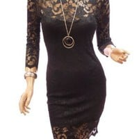 Patty Women Floral Lace 3/4 Sleeve Cocktail Party Mini Dress