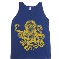 Mens Unisex Deep Sea OCTOPUS Diver Tri-Blend Tank - American Apparel tanktop - XS S M L XL (8 Color Options)