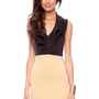 Ruffled Halter Dress in Black and Camel :: tobi