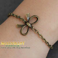 Antique Bronze Bowknot Bracelet MB028 by moonboat on Etsy