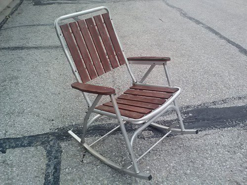 Vintage Folding Aluminum Rocking Chair from hamishpunim on