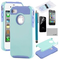 Pandamimi ULAK 2 In 1 Hybrid Blue TPU and Aqua Blue Hard Case Cover For iPhone 4 4S with Screen Protector and Stylus