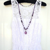 Amethyst, Crystal Quartz semiprecious stones long necklace with Fluorite pendant.