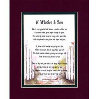 A Mother & Son Touching 8x10 Poem, Double-matted in Burgundy Over Dark Green And Enhanced With Watercolor Graphics. A Gift For A Mother, Son Or A New Mother.