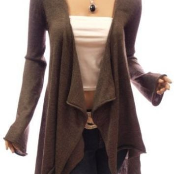 Patty Women Comfy Drape Front Asym Hem Bell Sleeve Jumper Cardigan (Brown S)