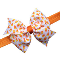 Candy corn headband - Halloween headband, orange newborn headband