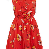 Oasis English Country Garden | Multi Red Frill Tea Dress | Womens Fashion Clothing | Oasis Stores UK