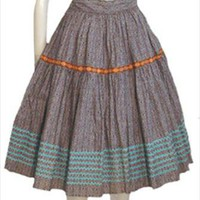 Vintage 1950s Brown Cotton Rockabilly Full Skirt