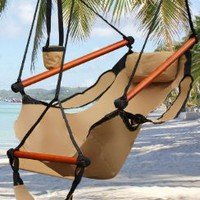 New Deluxe Tan Sky Air Chair Swing Hanging Hammock Chair W/ Pillow &amp; Drink Holder