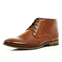 Light brown lace up formal boots - boots - shoes / boots - men