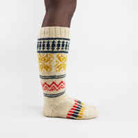 Hand knitted natural scandinavian high knee socks
