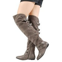 Bamboo Zoria40 Gray Multi Buckle OTK Boots and Womens Fashion Clothing & Shoes - Make Me Chic