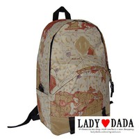 Japan Sweet Style Campus Bag Newspaper USA Flag Map Backpack Fashion School Bag