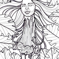 krasue, cambodian evil spirit monster, horror art, coloring book page
