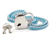 Silver and Aqua Blue Chainmail Choker Collar with Heart Shaped Padlock