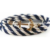 grxjy5120058Anchor white and blue braided rope bracelet by happyshop on Zibbet