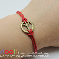 Adjustable Antiwar Peaceful Peace Sign Bracelet Womens Mens by mooli